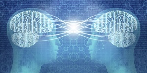 Telepathy: two cyborg human heads and circuit brain, mind control